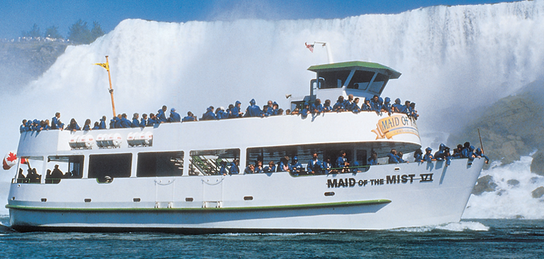 Maid of the Mist boat number 6 in front of the American Falls