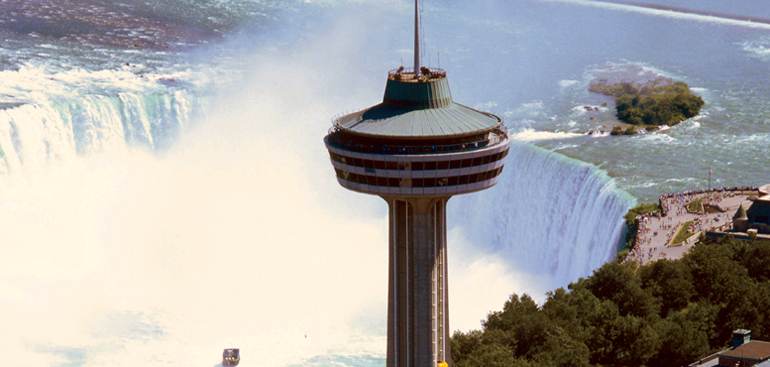 The Skylon Tower stands high about the Falls