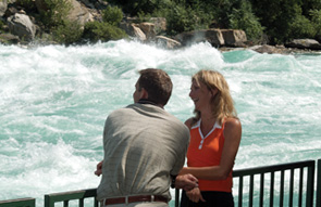A couple viewing the rapids in the lower Niagara River